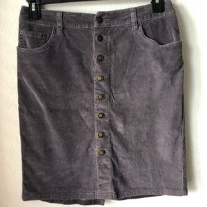 Garnet Hill Corduroy Button Skirt